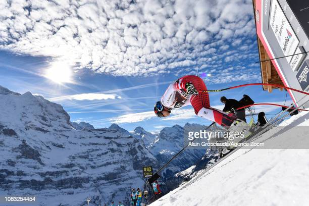 Matthias Mayer of Austria at the start during the Audi FIS Alpine Ski World Cup Men's Downhill Training on January 16 2019 in Wengen Switzerland