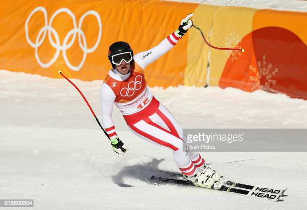Matthias Mayer of Austria celebrates at the finish during the Men's SuperG on day seven of the PyeongChang 2018 Winter Olympic Games at Jeongseon...
