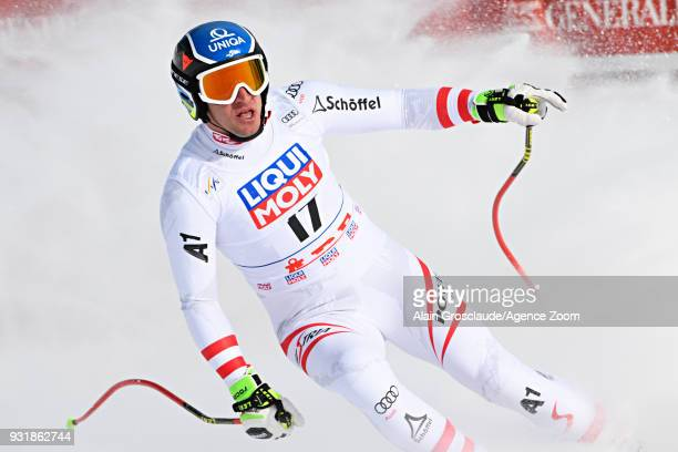 Matthias Mayer of Austria celebrates during the Audi FIS Alpine Ski World Cup Finals Men's and Women's Downhill on March 14 2018 in Are Sweden