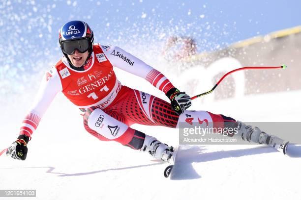 Matthias Mayer of Austria competes at the Hahnenkamm Rennen Audi FIS Alpine Ski World Cup Men's Super G at Streif on January 24, 2020 in Kitzbuehel,...