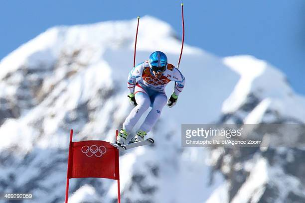 Matthias Mayer of Austria competes during the Alpine Skiing Men's Super Combined at the Sochi 2014 Winter Olympic Games at Rosa Khutor Alpine Centre...