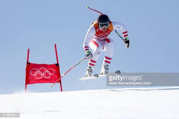 Matthias Mayer of Austria competes during the Alpine Skiing Men's SuperG at Jeongseon Alpine Centre on February 16 2018 in Pyeongchanggun South Korea