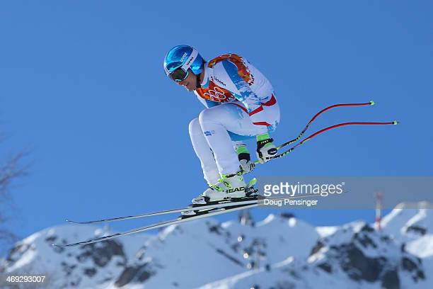 Matthias Mayer of Austria competes during the Alpine Skiing Men's Super Combined Downhill on day 7 of the Sochi 2014 Winter Olympics at Rosa Khutor...