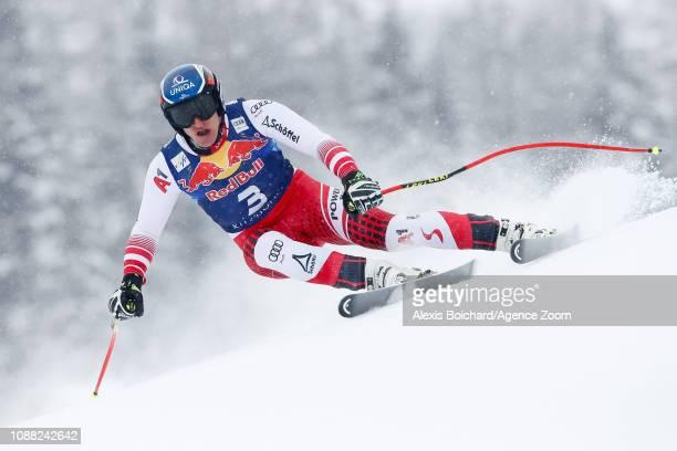 Matthias Mayer of Austria competes during the Audi FIS Alpine Ski World Cup Men's Downhill on January 25 2019 in Kitzbuehel Austria