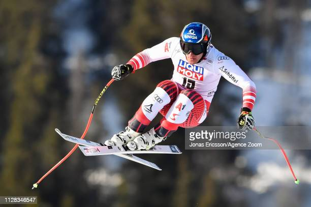Matthias Mayer of Austria competes during the Audi FIS Alpine Ski World Cup Men's Downhill on March 2, 2019 in Kvitfjell Norway.