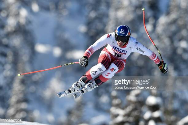 Matthias Mayer of Austria competes during the Audi FIS Alpine Ski World Cup Men's Downhill on March 7, 2020 in Kvitjell Norway.