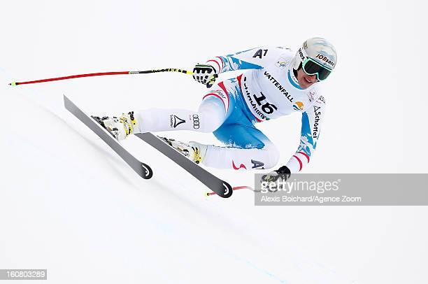 Matthias Mayer of Austria competes during the Audi FIS Alpine Ski World Championships Men's SuperG on February 06 2013 in Schladming Austria