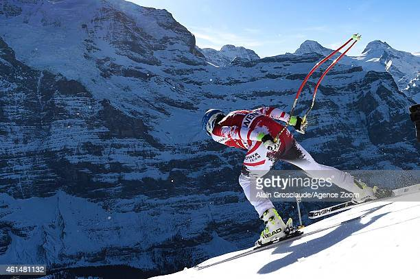 Matthias Mayer of Austria competes during the Audi FIS Alpine Ski World Cup Men's Downhill Training on January 13 2015 in Wengen Switzerland