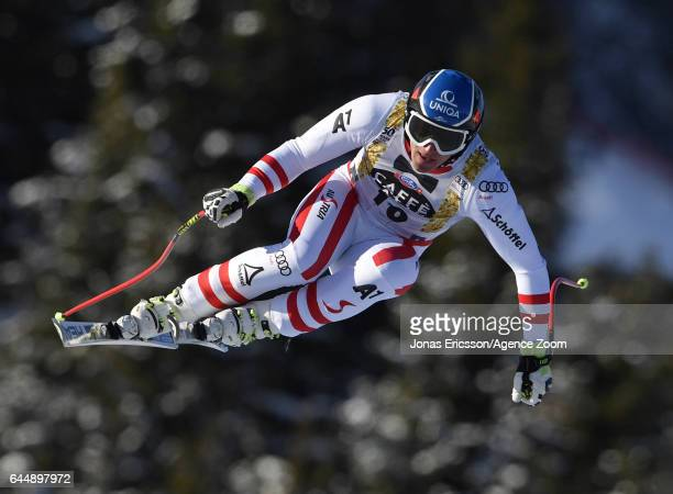 Matthias Mayer of Austria competes during the Audi FIS Alpine Ski World Cup Men's Downhill on February 24, 2017 in Kvitfjell, Norway