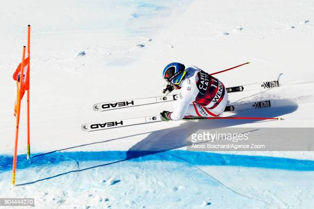 Matthias Mayer of Austria competes during the Audi FIS Alpine Ski World Cup Men's Downhill on January 13 2018 in Wengen Switzerland