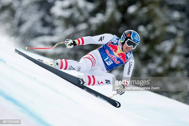 Matthias Mayer of Austria competes during the Audi FIS Alpine Ski World Cup Men's Downhill on January 20 2018 in Kitzbuehel Austria