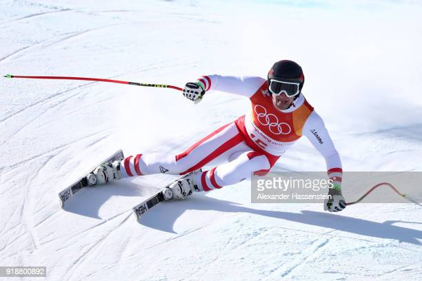 Matthias Mayer of Austria competes during the Men's SuperG on day seven of the PyeongChang 2018 Winter Olympic Games at Jeongseon Alpine Centre on...