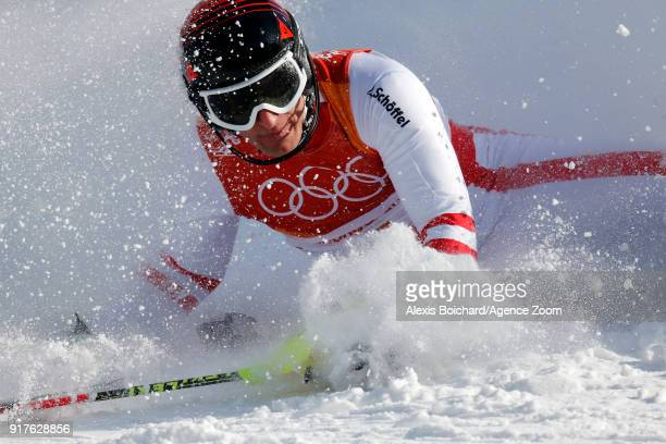Matthias Mayer of Austria crashes out during the Alpine Skiing Men's Combined at Jeongseon Alpine Centre on February 13 2018 in Pyeongchanggun South...