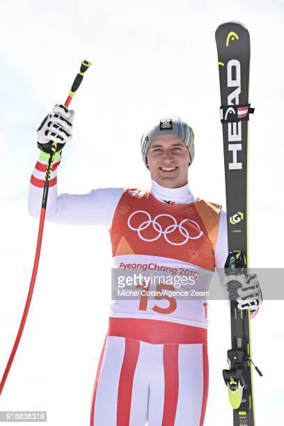 Matthias Mayer of Austria during the Alpine Skiing Men's SuperG at Jeongseon Alpine Centre on February 16 2018 in Pyeongchanggun South Korea