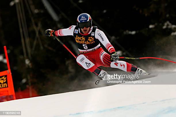 Matthias Mayer of Austria in action during the Audi FIS Alpine Ski World Cup Men's Downhill on December 27, 2019 in Bormio Italy.