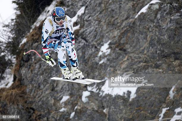 Matthias Mayer of Austria in action during the Audi FIS Alpine Ski World Cup Men's Downhill Training on January 10 2017 in Wengen Switzerland