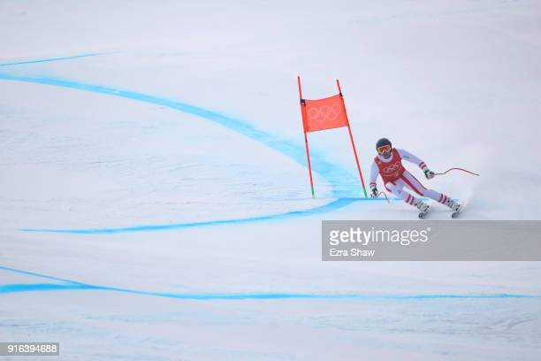 Matthias Mayer of Austria makes a run during the Men's Downhill 3rd Training on day one of the PyeongChang 2018 Winter Olympic Games at Jeongseon...