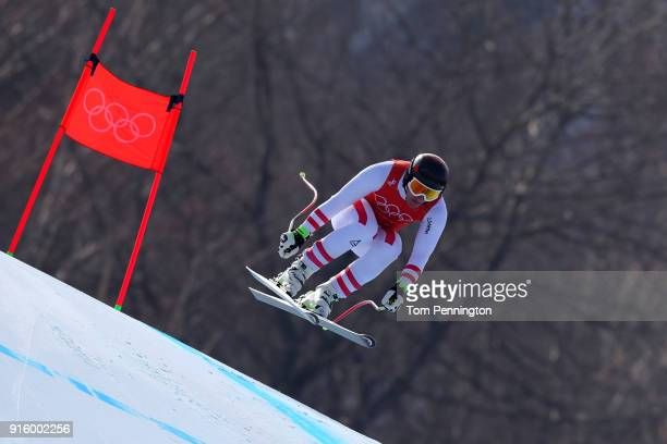 Matthias Mayer of Austria makes a run during the Men's Downhill Alpine Skiing training at Jeongseon Alpine Centre on February 9 2018 in...