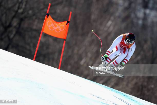 Matthias Mayer of Austria makes a run during the Men's Downhill on day six of the PyeongChang 2018 Winter Olympic Games at Jeongseon Alpine Centre on...