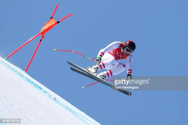 Matthias Mayer of Austria makes a run during the Men's Downhill on day six of the PyeongChang 2018 Winter Olympic Games at Jeongseon Alpine Centreon...