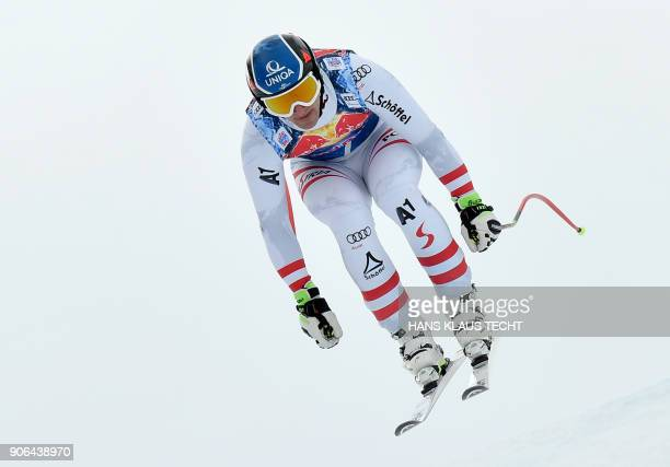 Matthias Mayer of Austria performs during a training session of the FIS Alpine World Cup Men's downhill event in Kitzbuehel Austria on January 18...