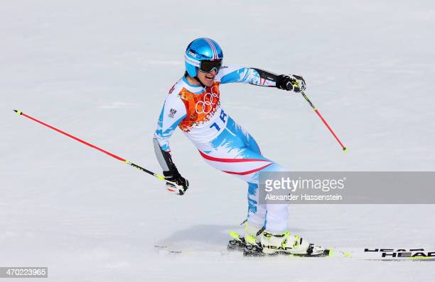 Matthias Mayer of Austria reacts during the Alpine Skiing Men's Giant Slalom on day 12 of the Sochi 2014 Winter Olympics at Rosa Khutor Alpine Center...