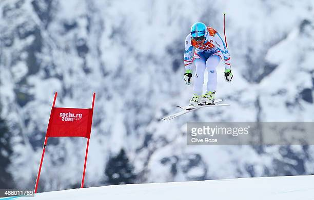 Matthias Mayer of Austria skis during the Alpine Men's Downhill on day two of the Sochi 2014 Winter Olympics at Rosa Khutor Alpine Center on February...
