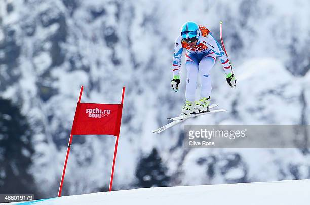 Matthias Mayer of Austria skis during the Alpine Skiing Men's Downhill at Rosa Khutor Alpine Center on February 9 2014 in Sochi Russia