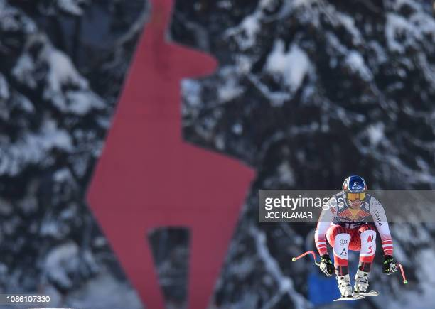 Matthias Mayer of Austria skis during the first downhill training during the FIS Alpine World Cup in Kitzbuehel Austria on January 22 2019