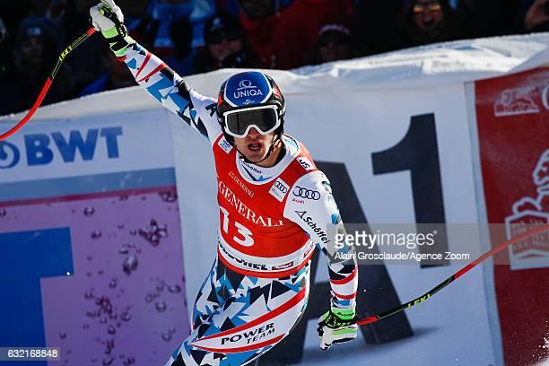 Matthias Mayer of Austria takes 1st place during the Audi FIS Alpine Ski World Cup Men's SuperG on January 20 2017 in Kitzbuehel Austria