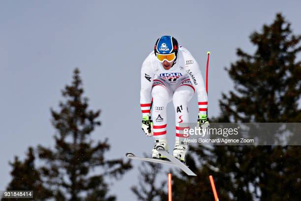 Matthias Mayer of Austria takes 1st place during the Audi FIS Alpine Ski World Cup Finals Men's and Women's Downhill on March 14 2018 in Are Sweden