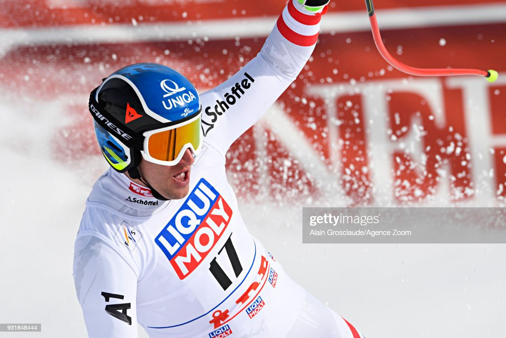 Matthias Mayer of Austria takes 1st place during the Audi FIS Alpine Ski World Cup Finals Men's and Women's Downhill on March 14, 2018 in Are, Sweden.