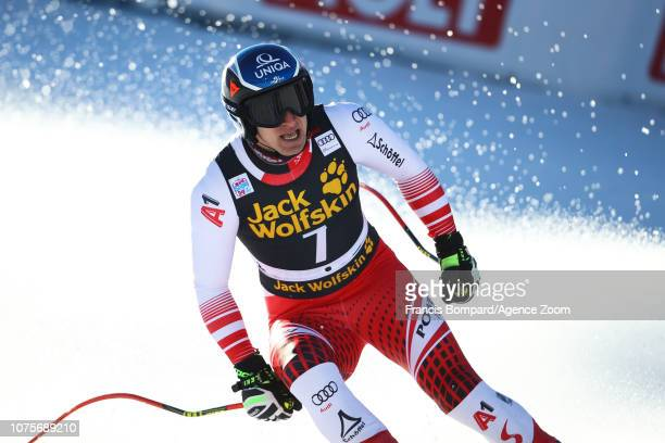 Matthias Mayer of Austria takes 2nd place during the Audi FIS Alpine Ski World Cup Men's Super G on December 29, 2018 in Bormio Italy.