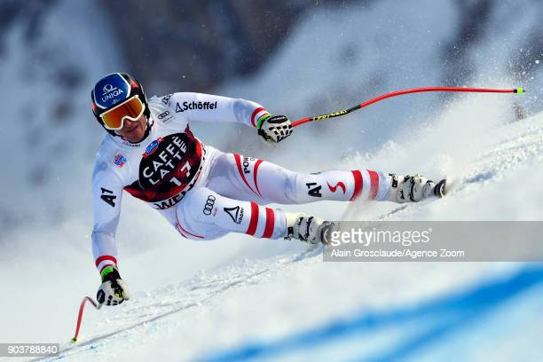 Matthias Mayer of Austria takes 2nd place during the Audi FIS Alpine Ski World Cup Men's Downhill Training on January 11 2018 in Wengen Switzerland
