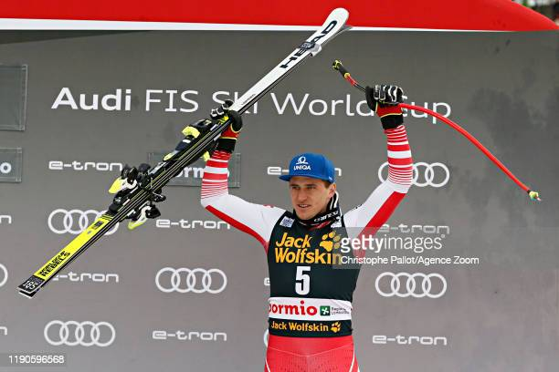 Matthias Mayer of Austria takes 3rd place during the Audi FIS Alpine Ski World Cup Men's Downhill on December 27, 2019 in Bormio Italy.