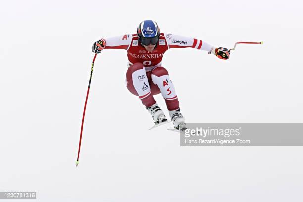 Matthias Mayer of Austria takes 3rd place during the Audi FIS Alpine Ski World Cup Men's Super G on January 25, 2021 in Kitzbuehel Austria.