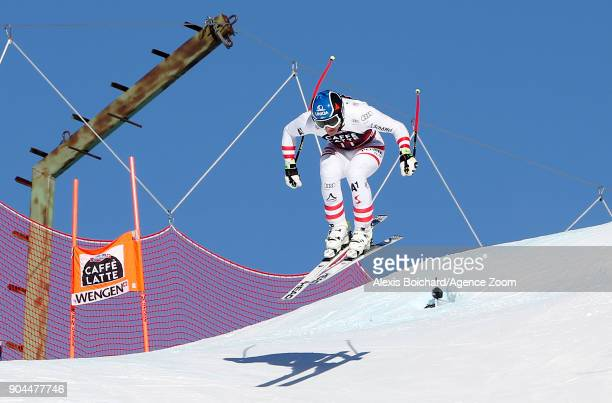 Matthias Mayer of Austria takes 3rd place during the Audi FIS Alpine Ski World Cup Men's Downhill on January 13 2018 in Wengen Switzerland