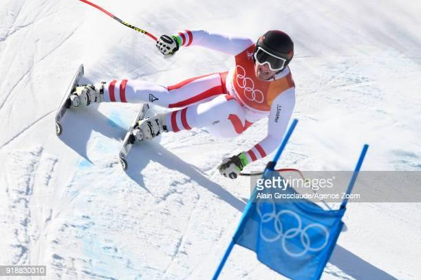 Matthias Mayer of Austria wins the gold medal during the Alpine Skiing Men's SuperG at Jeongseon Alpine Centre on February 16 2018 in Pyeongchanggun...