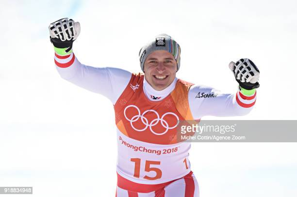 Matthias Mayer of Austria wins the gold medal during the Alpine Skiing Men's SuperG at Jeongseon Alpine Centre on February 16 2018 in Pyeongchanggun...