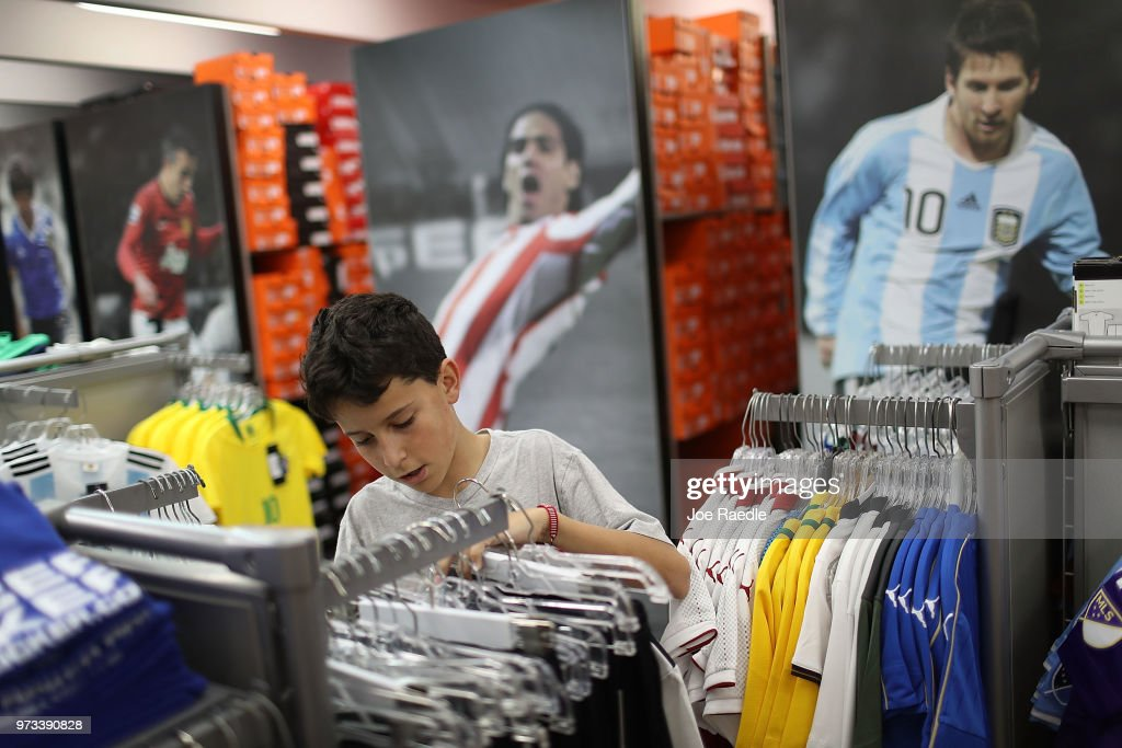 Matthias Meyer shops at the Soccer Locker store for German soccer team items as he prepares to show his support for his favorite World Cup soccer team that is in the tournament being held in Russia on June 13, 2018 in Miami, Florida. As the world prepares for the kickoff of the World Cup soccer tournament tomorrow, FIFA announced today that North America will host the tournament in 2026.