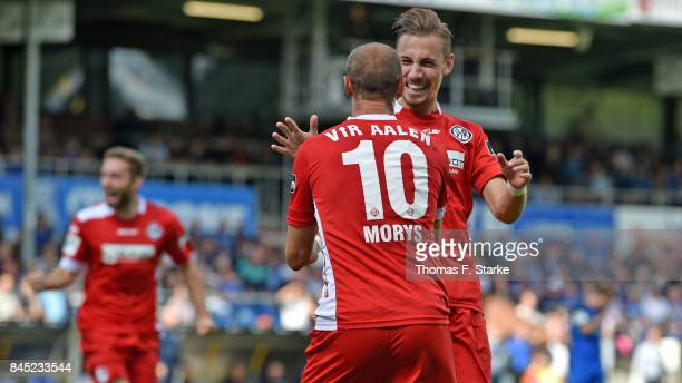 Matthias Morys and Mattia Trianni of Aalen celebrate during the 3 Liga match between SV Meppen and VfR Aalen at Haensch Arena on September 10 2017 in...