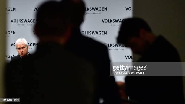 Matthias Mueller CEO of German car maker Volkswagen attends his company's annual press conference in Berlin on March 13 2018 Volkswagen holds its...
