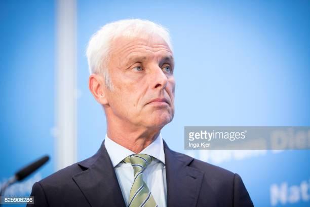 Matthias Mueller CEO of German car maker Volkswagen speaks at press conference in the course of the Diesel Summit on August 02 2017 in Berlin Germany...