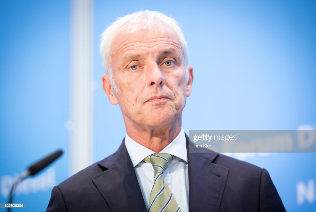 Matthias Mueller, CEO of German car maker Volkswagen speaks at press conference in the course of the Diesel Summit on August 02, 2017 in Berlin, Germany. Representatives of the automobile industry and federal politics meet to find solutions in reducing the pollutant emissions of diesel vehicles.