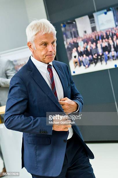 Matthias Mueller CEO of Volkswagen AG attends a visit to Golf 7 and EGolf production facility in Wolfsburg plant of german Car manufacturer...