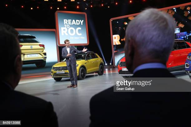 Matthias Mueller CEO of Volkswagen and Matthias Wissmann President of the German Automobile Industry Association watch the Volkswagen presentation at...