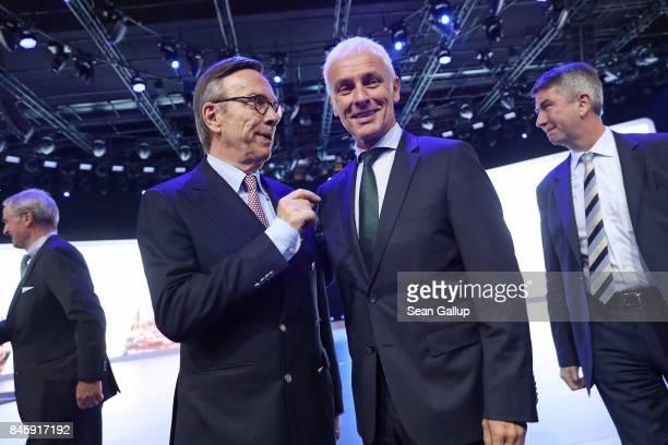 Matthias Mueller CEO of Volkswagen and Matthias Wissmann President of the German Automobile Industry Association attend the Volkswagen presentation...
