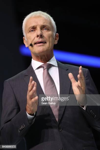 Matthias Mueller CEO of Volkswagen speaks at the Volkswagen Preview Night prior to the 2017 Frankfurt Auto Show on September 11 2017 in Frankfurt am...