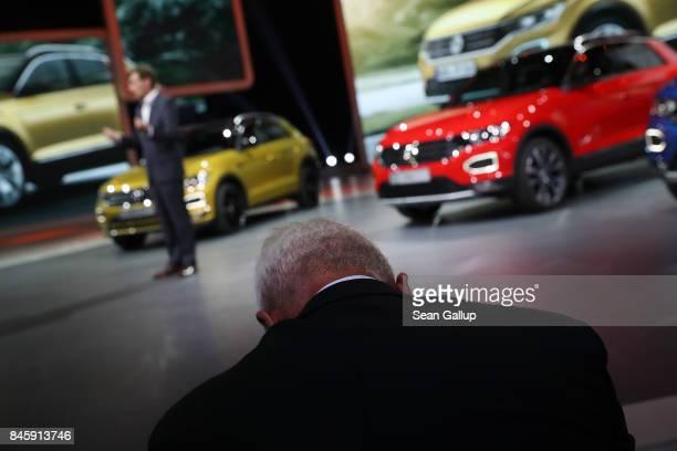 Matthias Mueller CEO of Volkswagen watches the Volkswagen presentation at the 2017 Frankfurt Auto Show on September 12 2017 in Frankfurt am Main...