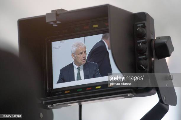 Matthias Mueller CEOof Audi AG pictured in the display of a TVcamera at the Audi AG general meeting in Neckarsulm Germany 18 May 2017 Photo Marijan...